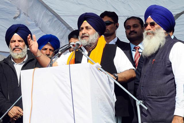 Deputy CM and SAD president Sukhbir Singh Badal during election campaign at Deenewal village in Khadoor Sahib on Thursday.