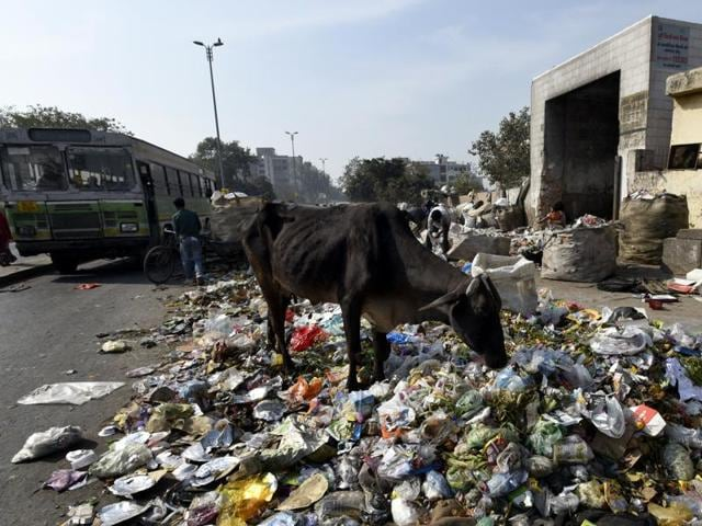 Huge quantity of garbage seen out side the dumping space near Vasudhra Enclave at Dallupura during the MCD workers strike in New Delhi, India, on Tuesday, February 2, 2016.