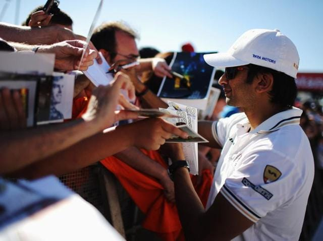 Racing driver Narain Karthikeyan of India is seen at the unveil of the new F111 Hispania Racing car in Spain in this file photo.