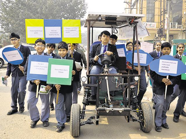 The six tudents from Schiller Senior Secondary School in Raj Nagar took around three months to assemble the car which costs Rs. 1 lakh.