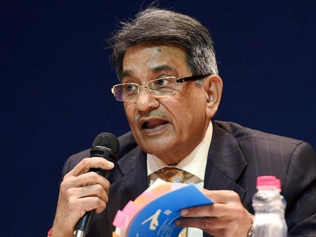 Justice R M Lodha addresses a press conference after tabling the committee's report in New Delhi in January.