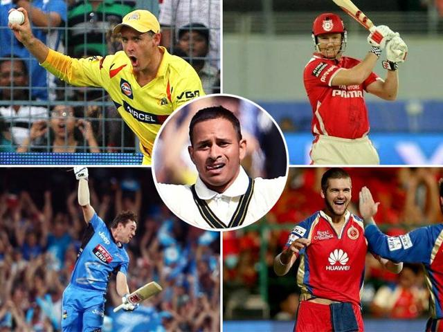 Clockwise, from top left: A composite photograph of Mike Hussey, George Bailey, Rilee Rossouw, Travis Head and, centre, Usman Khawaja.