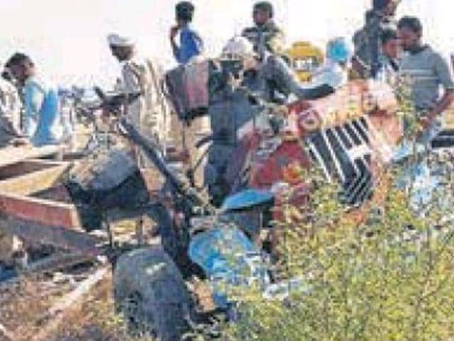The mangled remains of a 'peter rehra' which was hit by a train at an unmanned railway crossing in Muktsar district.