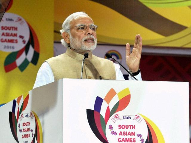 Prime Minister Narendra Modi addresses a gathering at the opening ceremony of  the 12th South Asian Games in Guwahati on Friday.