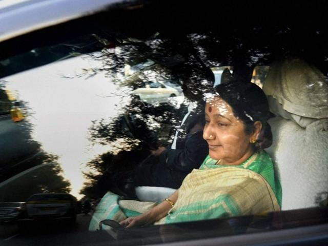 External Affairs Minister Sushma Swaraj on Friday  left for Colombo on a two-day visit during which she is expected to discuss the fishermen's issue and rights of minority Tamils with the top Sri Lankan leadership.