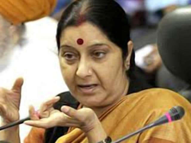Swaraj, who arrived in Colombo  on her second visit to the country within a year, held talks with Wickremesinghe at the Prime Minister's Office 'Temple Trees'. (HT File Photo)