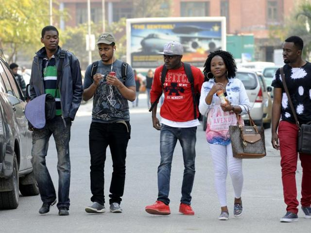 African students studying at a university in Greater Noida, India, on Thursday(Hindustan Times)