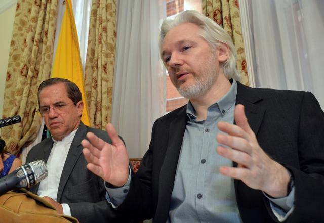 WikiLeaks founder Julian Assange speaks to the media outside the Ecuador embassy in west London.