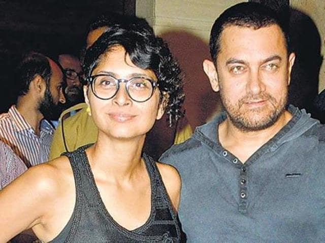"""File photo of Bollywood actor Aamir Khan and his wife Kiran Rao were spotted in Santacruz, Mumbai. Khan said he was """"alarmed"""" by the recent incidents in the country. (Yogen Shah/HT Photo)"""