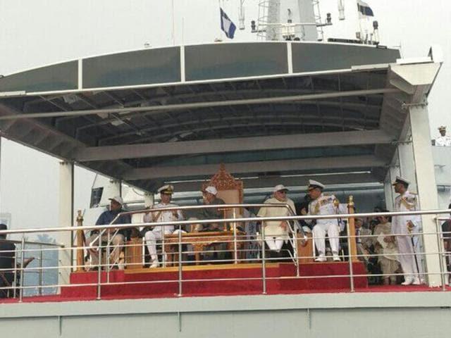 President  Pranab Mukherjee along with PM Narendra Modi reviewed the INSfleet on Saturday.