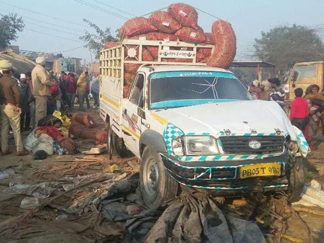 At the accident spot  near the grain market on the Faridkot-Bathinda road in Kotkapura on Saturday.
