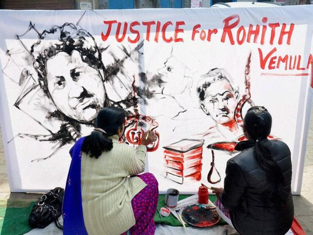 Artists from Moradabad pay tributes to Rohith Vemula, who committed suicide at the Hyderabad Central University.