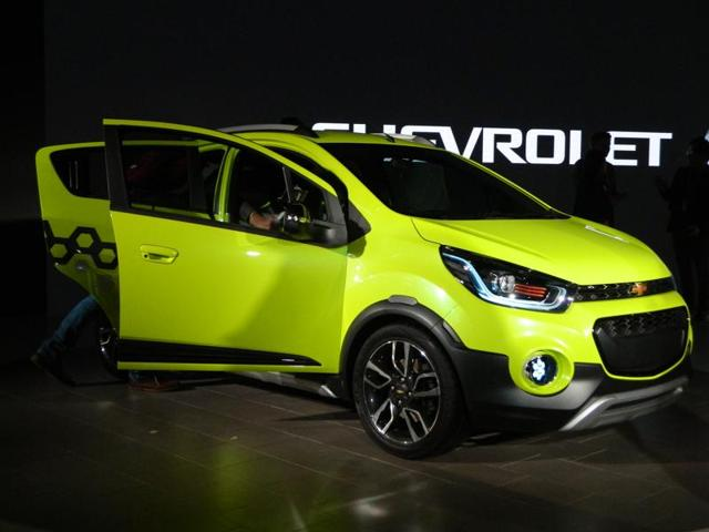 Chevrolet Beat, one of the most popular small hatches in India also received a new avatar as a concept based on it called Beat Activ was unveiled at the Delhi Auto Expo. (Gulshankumar Wankar/ HT Photo)