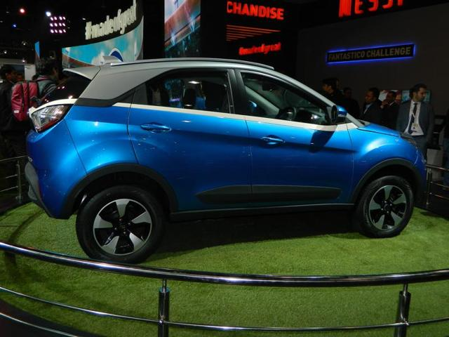 Tata Nexon is a mini-SUV which may soon go to production to compete in the newly founded segment. A 1.3-litre multijet diesel mill may go under the hood of this one, to churn out power of 90bhp and 200Nm torque. (Gulshankumar Wankar/ HT Photo)