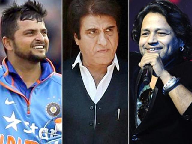 Combination picture of Suresh Raina, Raj Babbar and Kailash Kher.