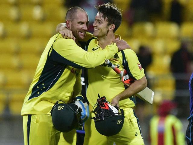 New Zealand captain Brendon McCullum (L) congratulates Australian captain Steve Smith following the second one-day international at Westpac Stadium in Wellington on February 6, 2016.