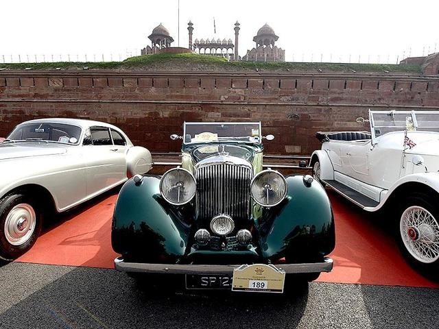 The 5th edition of the 21 Gunsalute International Vintage Car Rally in the capital. (Subrata Biswas/HT File Photo)