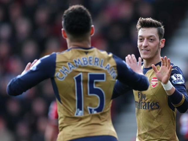 Alex Oxlade Chamberlain celebrates after scoring the second goal for Arsenal during the EPL game against AFC Bournemouth at the Vitality Stadium on February 7, 2016.