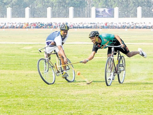 The Indian Air Force team exhibited cycle polo.
