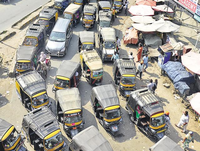 A view of the traffic jam due to autorickshaws near bus stand in Amritsar on Saturday.