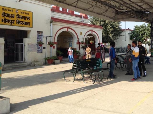 Bhogpur railway station in Jalandhar district.