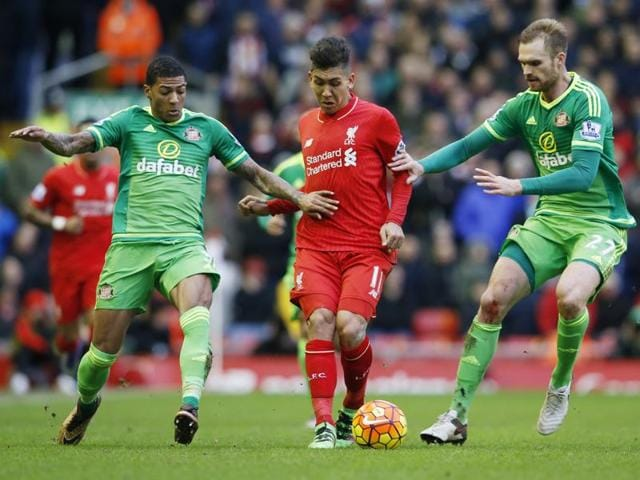 Liverpool's Roberto Firmino looks dejected after a missed chance during the EPLgame against Sunderland at Anfield on February 6, 2016.