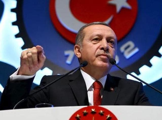 Turkey's President Tayyip Erdogan addresses the audience during a meeting in Ankara, Turkey, December 3.