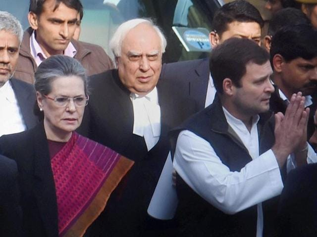 Congress president Sonia Gandhi and vice President Rahul Gandhi at the Patiala House Court after a hearing in National Herald Case.