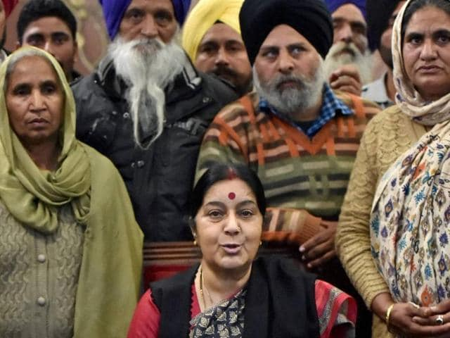 """Swaraj, who had sought a meeting with the families, also assured them that the government was """"fully and continuously engaged"""" and """"every possible effort"""" was being made to ensure their release."""