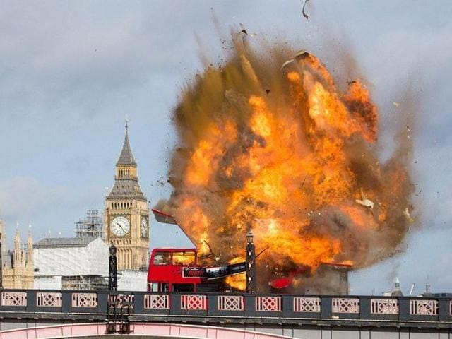 The bus was travelling across Lambeth Bridge not far from Britain's parliament when its top deck exploded with a large bang in a ball of flames.