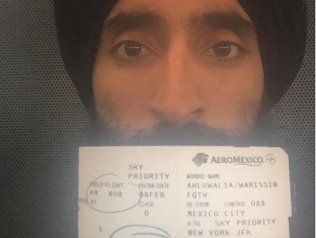 Waris Ahluwalia's AeroMexico flight ticket.