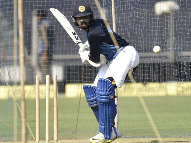 Sri Lankan captain Dinesh Chandimal during practice on the eve of first T20 against India at Maharashtra Cricket Association Stadium in Pune on February 8, 2016.