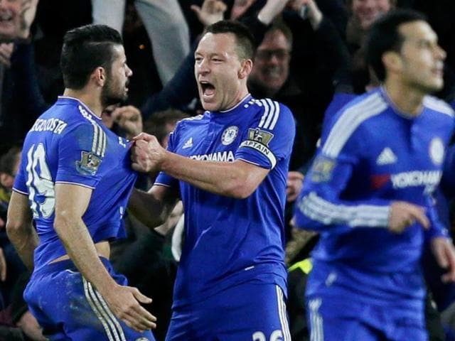 Chelsea's Diego Costa celebrates scoring their first goal against Manchester United.
