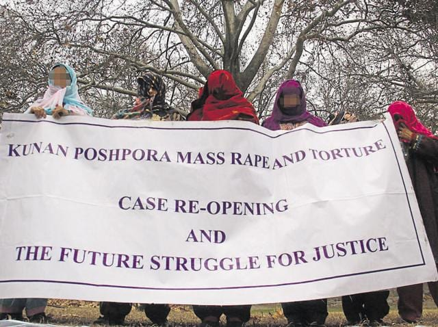 Rape victims assemble at Srinagar's Sher-e-Kashmir Park to seek justice in 2013.(HT File Photo)