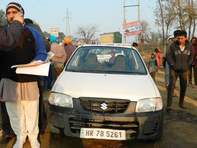 The ill fated car that was fished out from Sirhind Canal near Machhiwara on Monday morning.