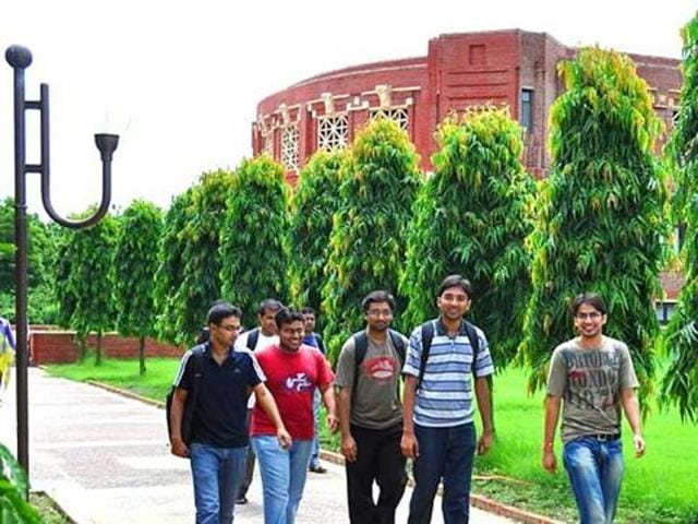 Students inside the campus of Indian Institute of Management, Lucknow in Lucknow, Uttar Pradesh.