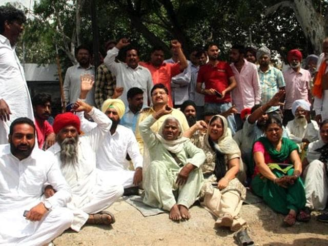 A file photo of the people's protest against the state government at Moga civil hospital following the alleged molestation of a woman and her daughter on a bus in May, 2015.