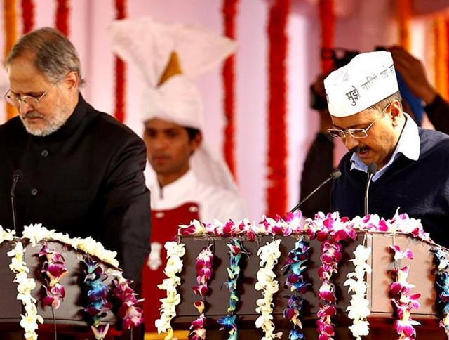 AAP leader Arvind Kejriwal during his swearing in ceremony at Ramlila Maidan in New Delhi in 2013. His first stint as chief minister lasted 49 days. He was brought back to power in February 2015.