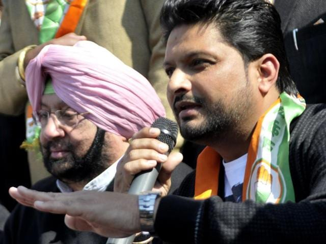 With Punjab Congress chief Capt Amrinder singh, Balkar Sidhu in Chandigarh on Tuesday after joining the party.