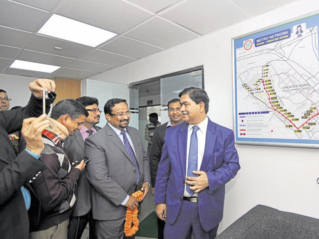 Noida authority CEO and NMRC managing director Rama Raman inaugurated the corporation's new office in Sector 29 on Monday.