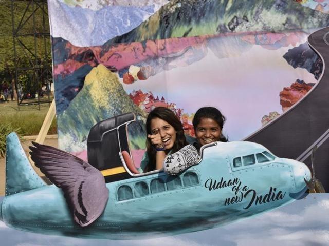 People enjoy the Art installation during Hindustan Times Kala Ghoda Festival 2016 at Cross Maidan in Mumbai on Monday, February 8.
