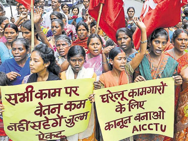 Domestic workers stage a demonstration in support of their demands in Ranchi .