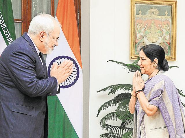 Foreign minister Sushma Swaraj (R) meets Iran's foreign minister Mohammad Javad Zarif ahead of a meeting at the Hyderabad House in New Delhi.