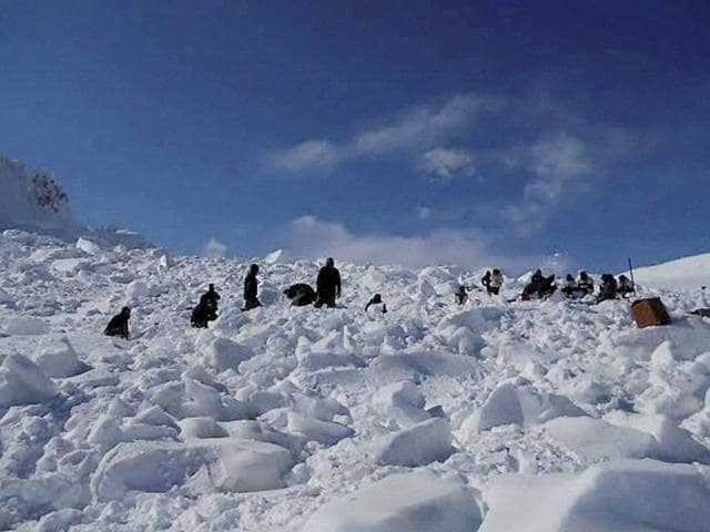 Operations by the specialized teams of the Army and the Air Force in progress to search for the bodies of the soldiers hit by an avalanche, in Siachen.
