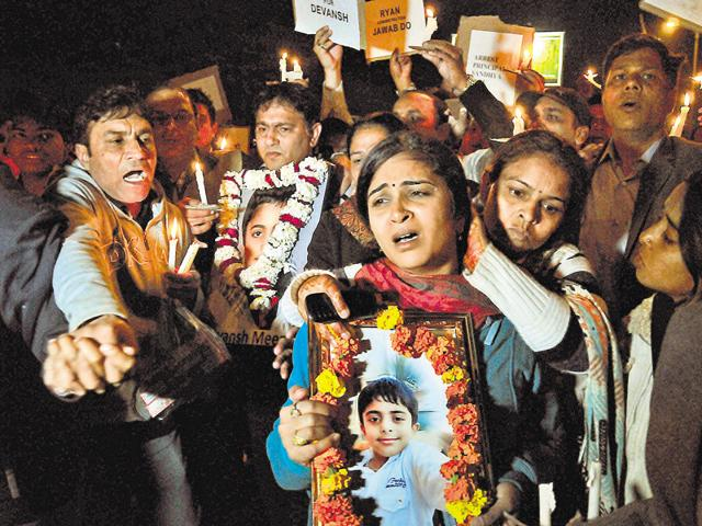 Divyansh's parents participated in a candle march five days after he was found dead in a water tank in the school campus.