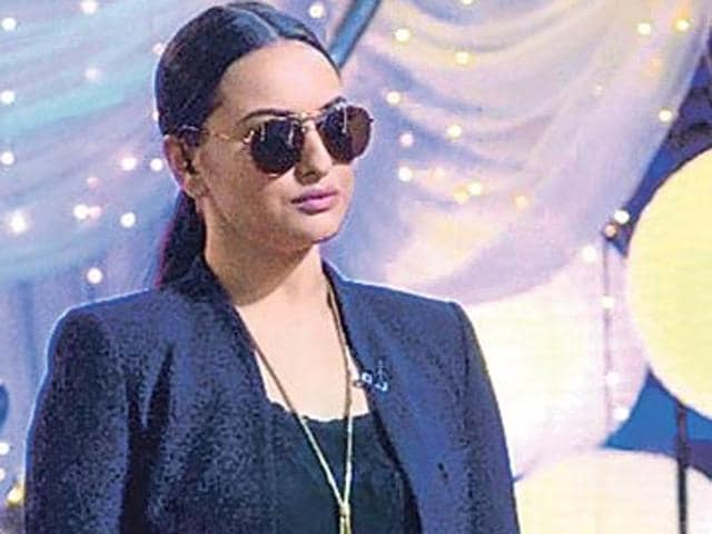 Sonakshi Sinha on the set of a reality TV show.
