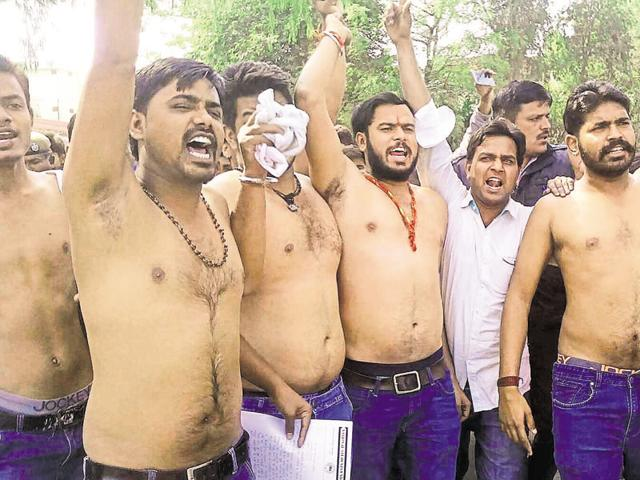Students belonging to NSUI protest against the suicide of the research scholar in Central University of Rajasthan, in Ajmer on Monday.