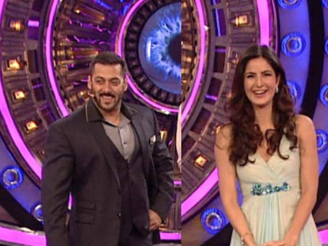 Salman and Katrina on the sets of Bigg Boss.