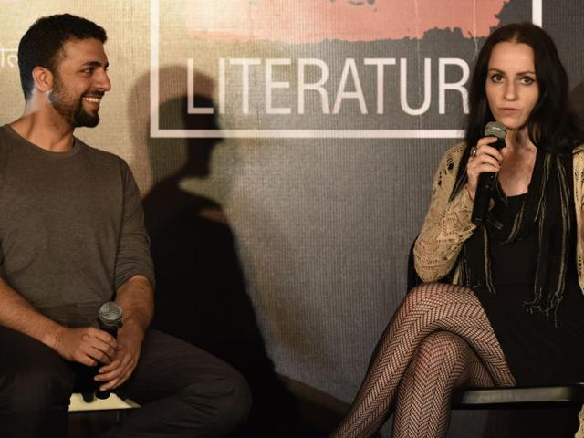 Author and journalist Raghu Karnad with American artist, writer and entrepreneur Molly Crabapple at the event on Tuesday.