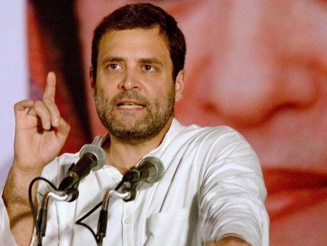 Congress vice-president Rahul Gandhi waves to crowd at a party rally in Thiruvananthapuram on Tuesday.